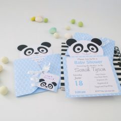 Personalized Printable Blue Panda Invitation Set | E188