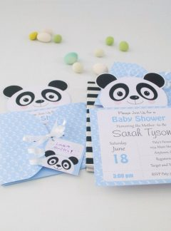 Personalized Blue Panda Printable Invitation Set | E188