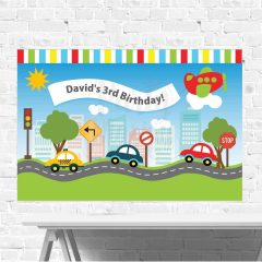 Personalized Transportation Birthday Backdrop Printable Large Scale Sign for your Traffic Airplane Party | E042