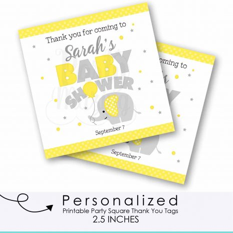 Personalized Yellow Elephant Tags, Toppers or Sticker Labels for your Elephant with Balloon Baby Shower or 1st Birthday Party | E227