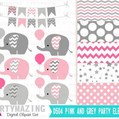 Pink Baby Elephant Clipart Set   E324