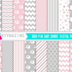 Pink Digital Paper Pack, 16 Elephant Scrapbook Background Paper, Chevron Polka, Dot Background, Stripe | E250