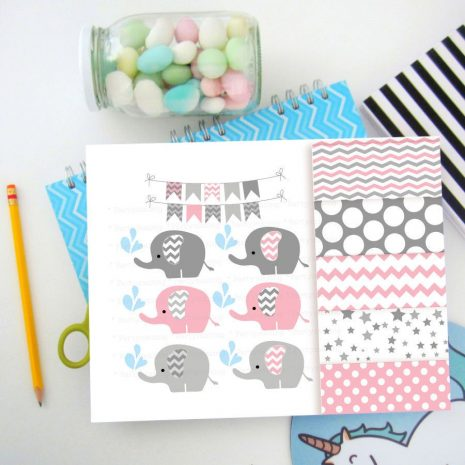 Pink Elephant Clipart Set with Matching Paper | E214