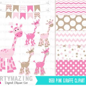 Pink Giraffe Clipart Set with Matching Paper | E381