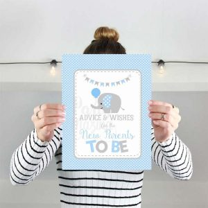 Printable Advice and Wishes New parents advice Cards for Blue Elephant Baby Shower for a Baby Boy | E091