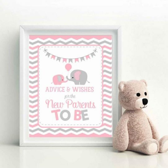 Printable Advice and Wishes Pink Elephant Party Sign Game | E333