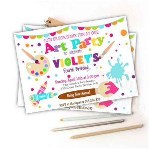 Printable Art Class Painting Party Invitation for your Kid's Birthday Party | Printable Digital Invitation or Whatsapp Invite | E221