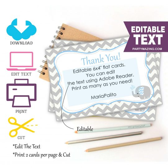 Printable Baby Gift Thank You Printable Card Notes   E132