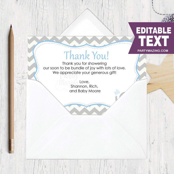 Printable Baby Gift Thank You Printable Card Notes | E132