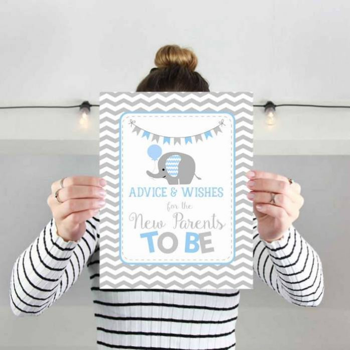 Printable Blue Elephant Advice and Wishes Baby Shower Sign   E131