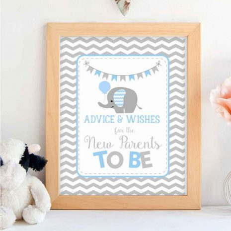 Printable Blue Elephant Advice and Wishes Baby Shower Sign | E131