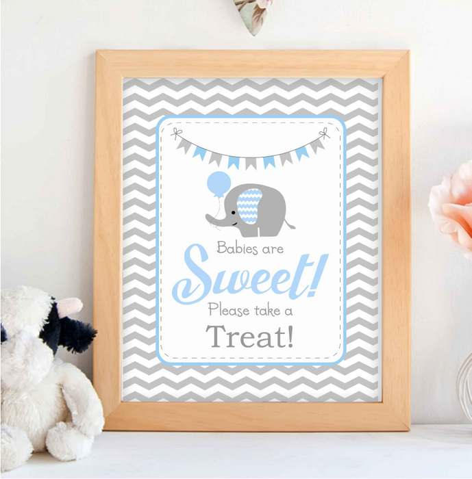 Printable Blue Elephant Babies Are Sweet Please Take A Treat Party Sign | E157