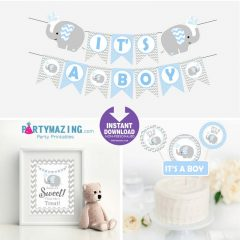 Printable Blue Elephant Baby Shower EXPRESS Party Set Package | PK03 | E027