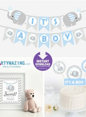 Blue Elephant Printable Baby Shower EXPRESS Set E027