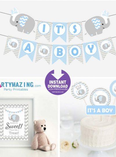Blue Elephant Printable Baby Shower EXPRESS Set E027