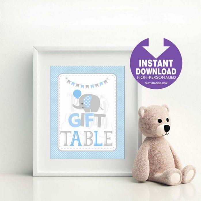 Printable Blue Elephant Baby Shower Gift Party Sign| E090