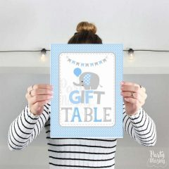 Blue Elephant Gift Table Sign |Printable Baby Shower Party Sign| PK03 | E090