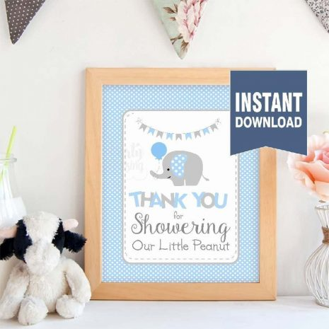 Printable Blue Elephant Baby Shower Thank You For Showering Our Little Peanut Sign  E104
