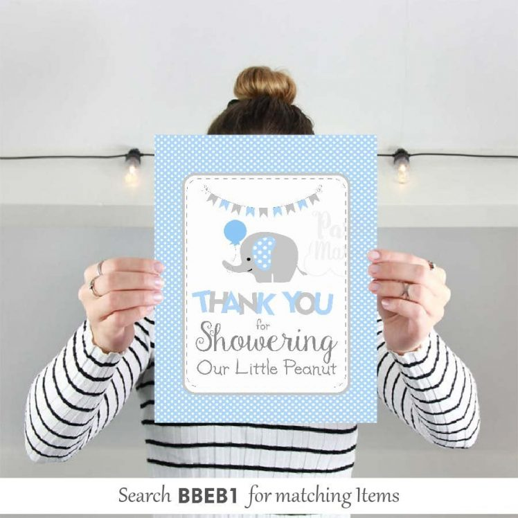 Printable Blue Elephant Baby Shower Thank You For Showering Our Little Peanut Sign| E104
