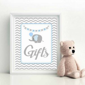 Printable Blue Elephant Gift Table Baby Shower Sign | E080