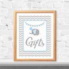 Printable Blue Elephant Gift Table Baby Shower Sign | E080