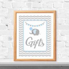 Blue Elephant Gift Table Sign | Printable Baby Shower Sign | PK03 | E080