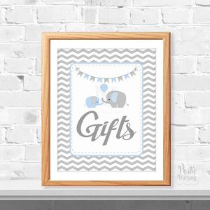 Printable Blue Elephant Gift Table Sign for Baby Shower Table | E254