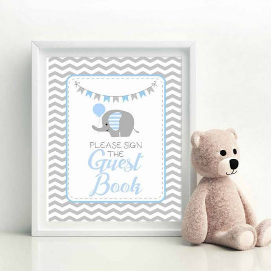 Printable Blue Elephant Guest Book Party Sign  for Baby Shower| E081