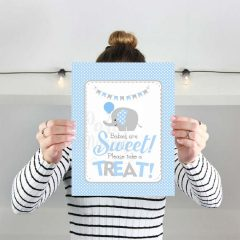 Printable Blue Elephant Take a Treat Sign, Baby Shower Food Table Sign | E093
