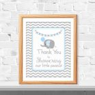 Printable Blue Elephant Thank you for Showering Our Little Peanut Sign | E078