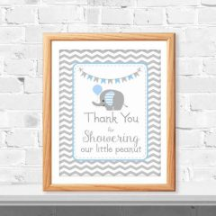 Blue Elephant Thank you Sign | Printable Little Peanut Baby Shower Sign | PK03| E078