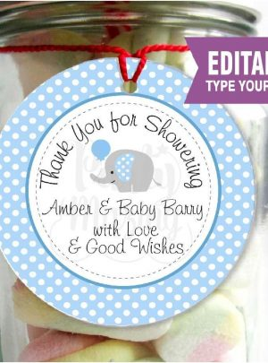 Blue Elephant Thank You Favor Tag | Printable Baby Shower Label | PK03 | E092