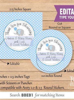 Blue Elephant Thank You Favor Tag | Printable Baby Shower Label | PK03 | E092
