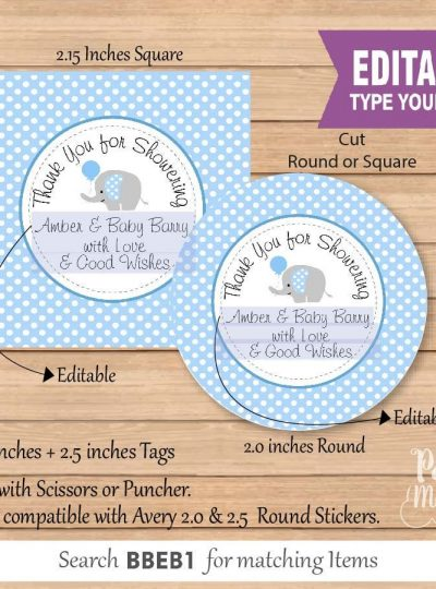 Blue Elephant Printable Baby Shower Thank You Favor Tag E092