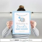 Printable Blue Elephant Welcome sign for Boy Baby Shower or Boy Birthday Party | BBEB1 | E140