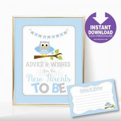 Printable Blue Owl Advice and Wishes Baby Shower Party Sign | E341