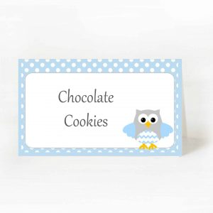 Printable Blue Owl Party Food Labels   E347