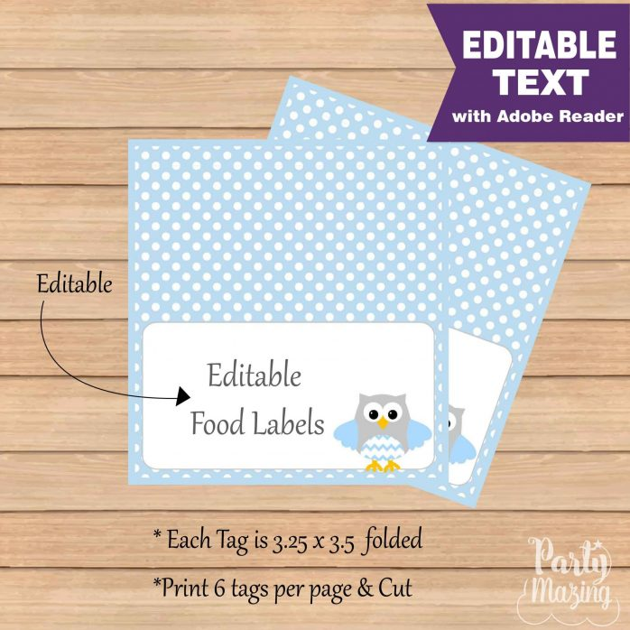 Printable Blue Owl Party Food Labels | E347
