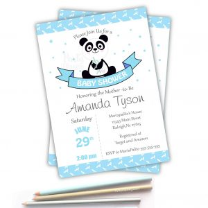 Printable Blue Panda Baby Shower Invitation Printable E199