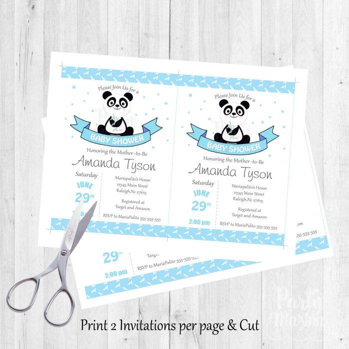 Printable Blue Panda Baby Shower Invitation Printable E199