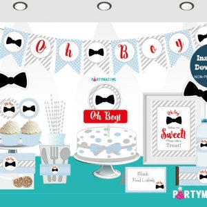Printable Bow Tie Oh Boy Baby Shower Quick Set Package | E330