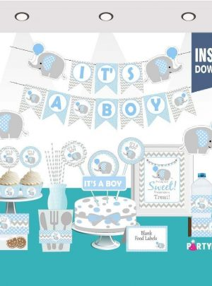 Blue Elephant Baby Shower Express Party Package Set | Printable Baby Boy Decor | PK03 | E025