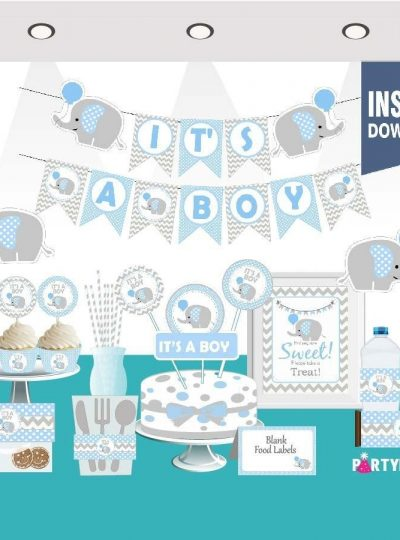 Blue Elephant Baby Shower Printable Express Party Package Set | E025