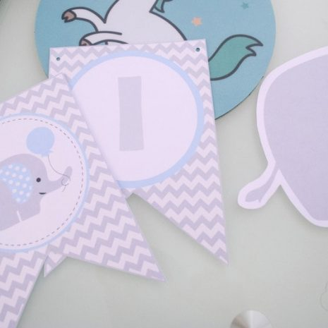 Printable Boy Baby Blue Elephant Baby Shower Express Party Package Set | E025
