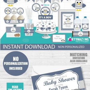 Printable Boy Navy Blue Owl Baby Shower Party Express Package Set | E032