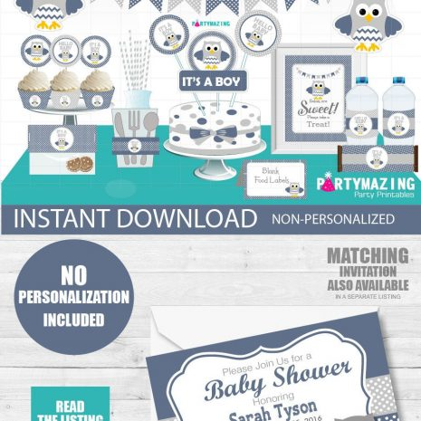 Printable Boy Navy Blue Owl Baby Shower Party Express Package Set  E032