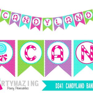 Printable Candyland Banner for your Girl Birthday Sweet Shoppe or Lollipop Party Decor | PK05 | E173