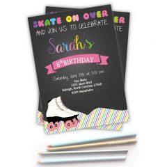 Printable Colorful Skate Roller Skate Invitation for a Birthday Party Girl   E268