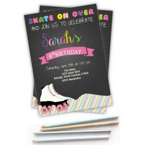 Printable Colorful Skate Roller Skate Invitation for a Birthday Party Girl | E268