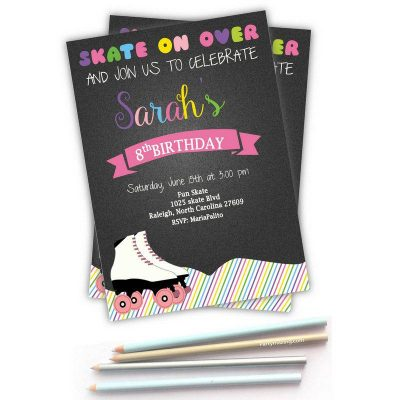 Printable Colorful Skate Roller Skate Invitation for a Birthday Party Girl | E268